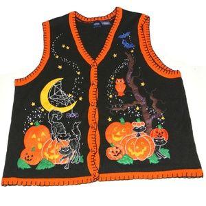 Basic editions Halloween Sweater Vest 2X applique